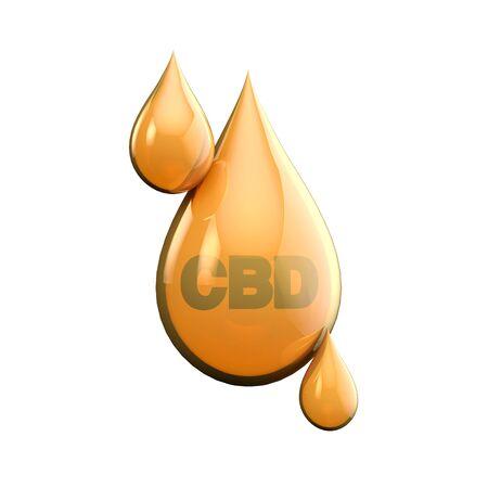 CBD oil drop from marijuana cannabis plant. 3D Rendering