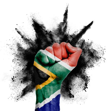 South Africa raised fist with powder explosion, power, protest concept