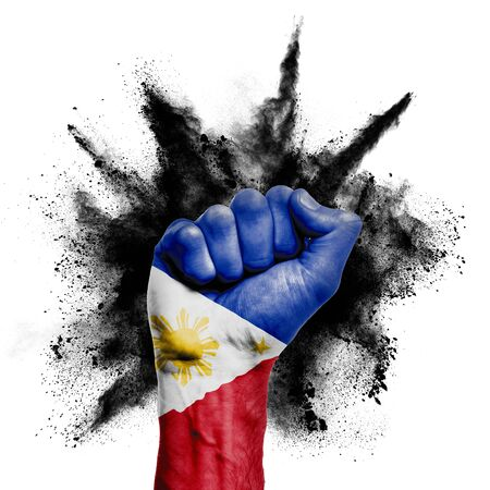 Philippines raised fist with powder explosion, power, protest concept