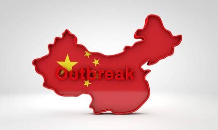 Map of China with the word outbreak. 3D Rendering Zdjęcie Seryjne