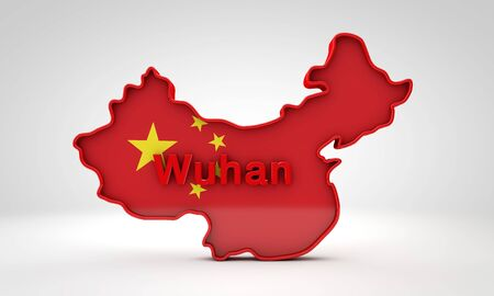 Map of China with the word Wuhan. 3D Rendering Zdjęcie Seryjne