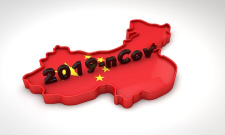 Map of China with the coronavirus name 2019-nCoV. 3D Rendering