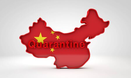 Map of China with the word Quarantine. 3D Rendering