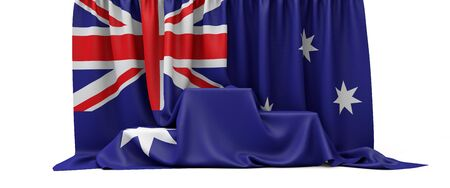 Australia flag draped over a competition winners podium. 3D Render