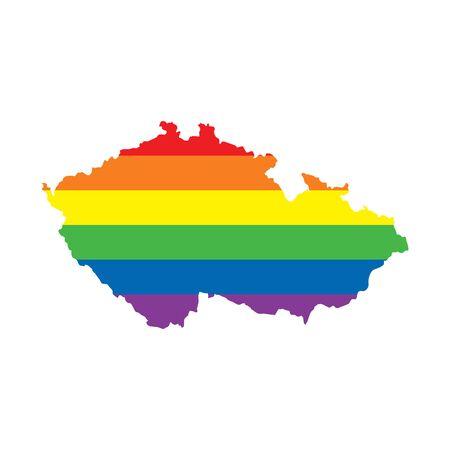 Czech Republic LGBTQ gay pride flag map 矢量图像
