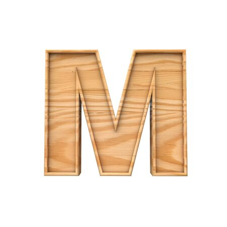Wooden capital letter M. 3D Rendering