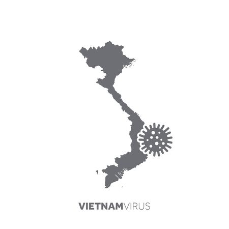 Vietnam map with a virus microbe. Illness and disease outbreak