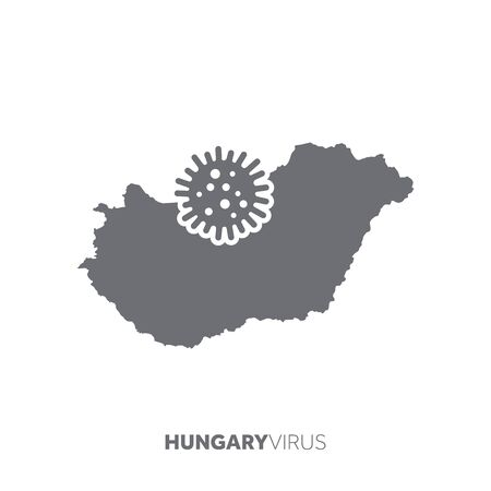 Hungary map with a virus microbe. Illness and disease outbreak