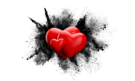 Red love heart against a grunge powder explosion. 3D Rendering Archivio Fotografico - 138942981
