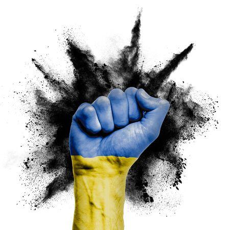 Ukraine raised fist with powder explosion, power, protest concept Stock Photo