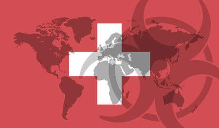 Switzerland flag global disease outbreak concept