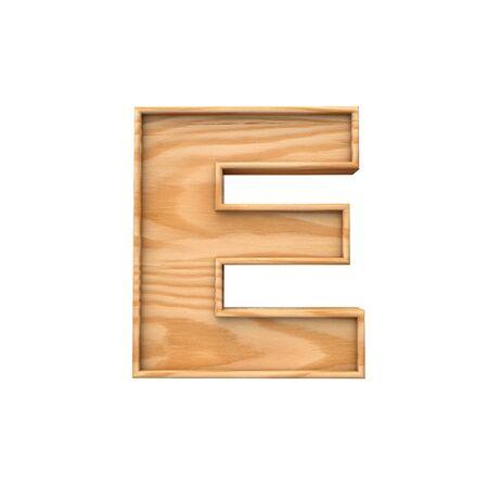 Wooden capital letter E. 3D Rendering