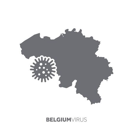 Belgium map with a virus microbe. Illness and disease outbreak