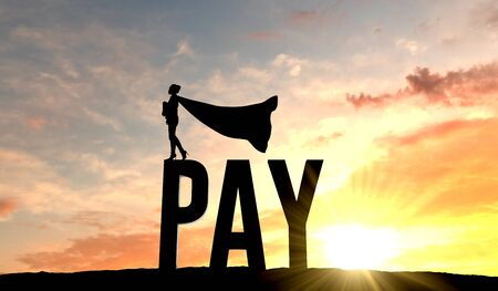 Silhouette of superhero woman stood on the word pay. 3D Rendering