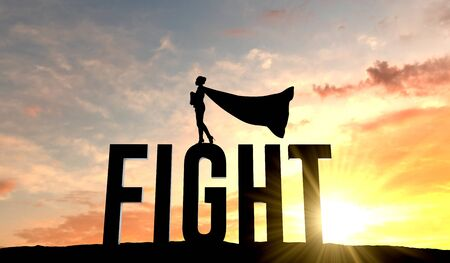 Silhouette of superhero woman stood on the word fight. 3D Rendering