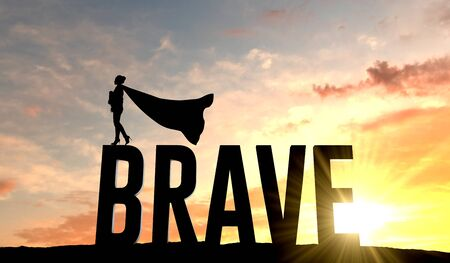 Silhouette of superhero woman stood on the word brave. 3D Rendering Banque d'images