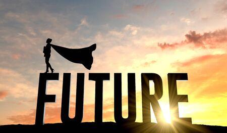 Silhouette de femme super-héros se tenait sur le mot avenir. Rendu 3D