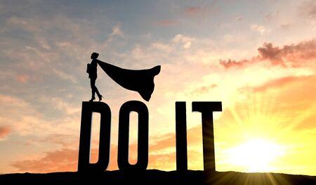 Silhouette de femme super-héros se tenait sur le mot fais-le. Rendu 3D