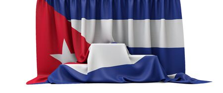 Cuba flag draped over a competition winners podium. 3D Render
