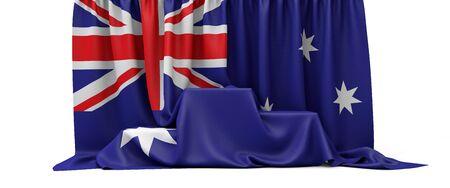 Australische Flagge drapiert über einem Siegerpodest eines Wettbewerbs. 3D-Rendering