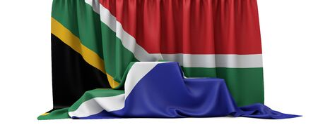 South Africa flag draped over a competition winners podium. 3D Render
