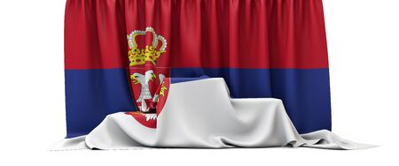 Serbia flag draped over a competition winners podium. 3D Render