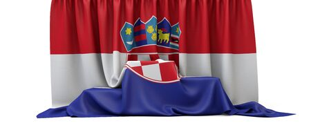 Croatia flag draped over a competition winners podium. 3D Render