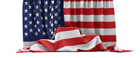 USA flag draped over a competition winners podium. 3D Render