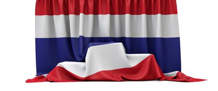 Thailand flag draped over a competition winners podium. 3D Render