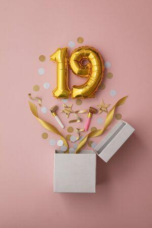 Number 19 birthday balloon celebration gift box lay flat explosion