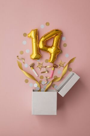 Number 14 birthday balloon celebration gift box lay flat explosion