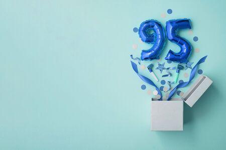Number 95 birthday balloon celebration gift box lay flat explosion