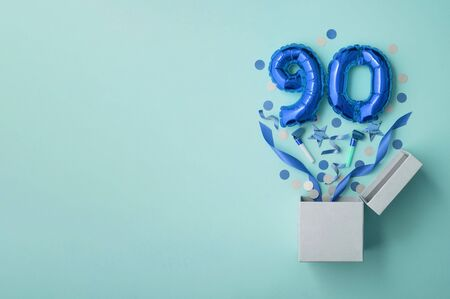 Number 90 birthday balloon celebration gift box lay flat explosion