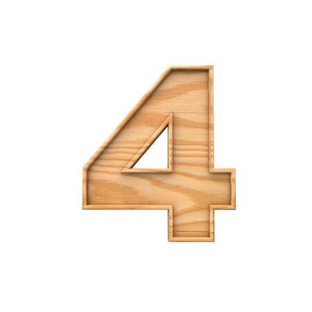 Wooden number 4. symbol 3D Rendering