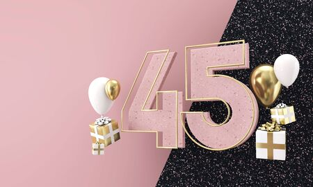 Happy 45th birthday party celebration. Modern marble composition 3D Render
