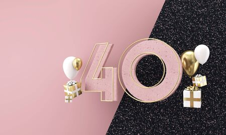 Happy 40th birthday party celebration. Modern marble composition 3D Render 스톡 콘텐츠