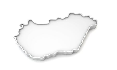 Simple white 3D map of Hungary. 3D Rendering