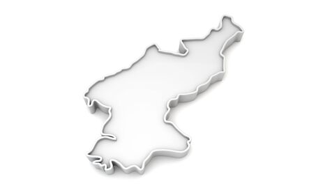 Simple white 3D map of North Korea. 3D Rendering
