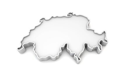 Simple white 3D map of Switzerland. 3D Rendering