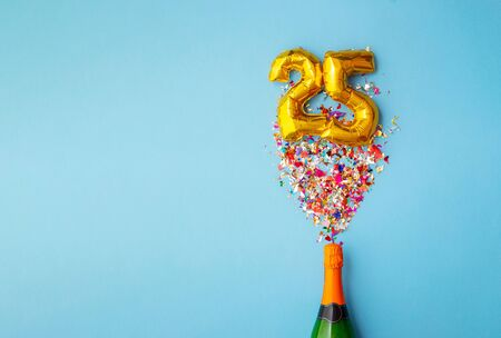 25th anniversary champagne bottle balloon pop