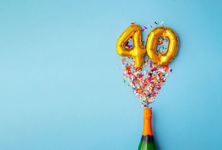 40th anniversary champagne bottle balloon pop