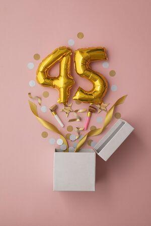 Number 45 birthday balloon celebration gift box lay flat explosion