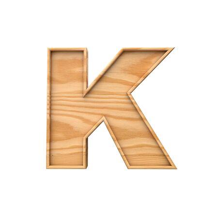 Wooden capital letter K. 3D Rendering