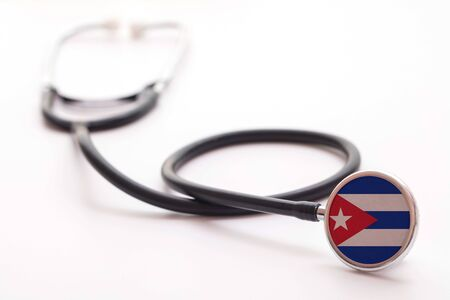Cuba healthcare concept. Medical stethoscope with country flag