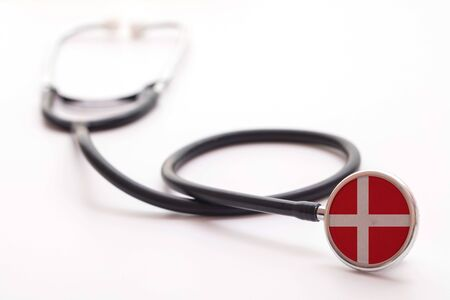 Denmark healthcare concept. Medical stethoscope with country flag Archivio Fotografico