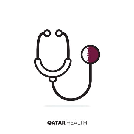 Qatar healthcare concept. Medical stethoscope with country flag