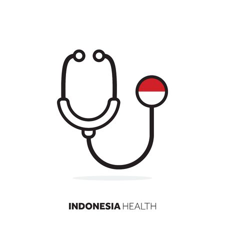 Indonesia healthcare concept. Medical stethoscope with country flag