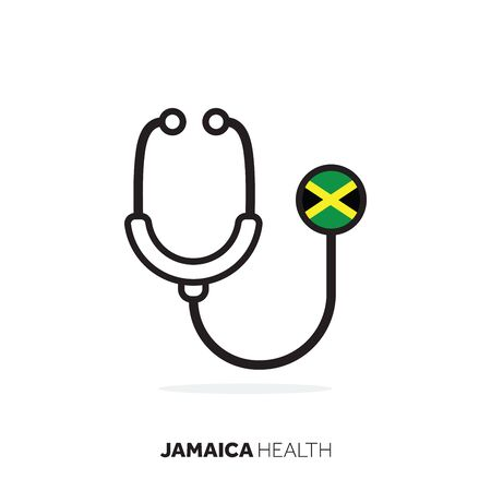 Jamaica healthcare concept. Medical stethoscope with country flag
