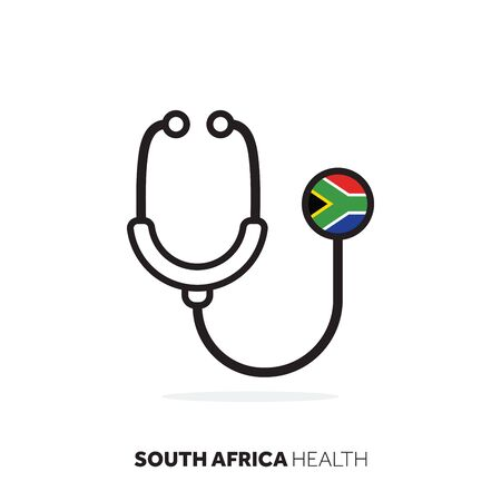 South Africa healthcare concept. Medical stethoscope with country flag