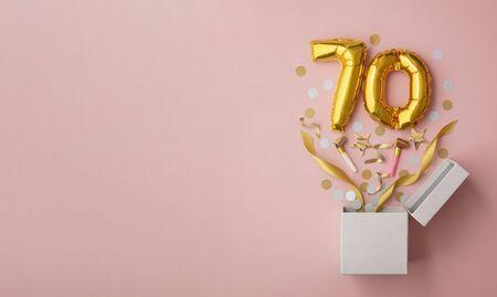 Number 70 birthday balloon celebration gift box lay flat explosion